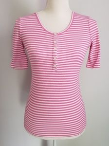 J crew pink white striped top button neck line xs